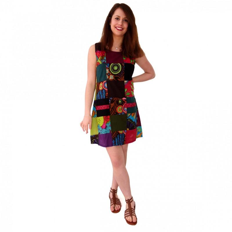 robe ethnique patchwork color e originale v tement babacool femme. Black Bedroom Furniture Sets. Home Design Ideas