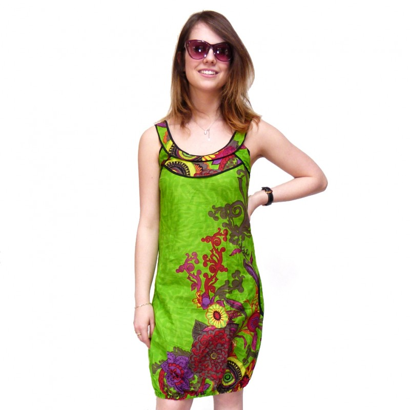 Robe tunique ethnique color e hippie chic anis macha karnabi - Vetement ethnique discount ...