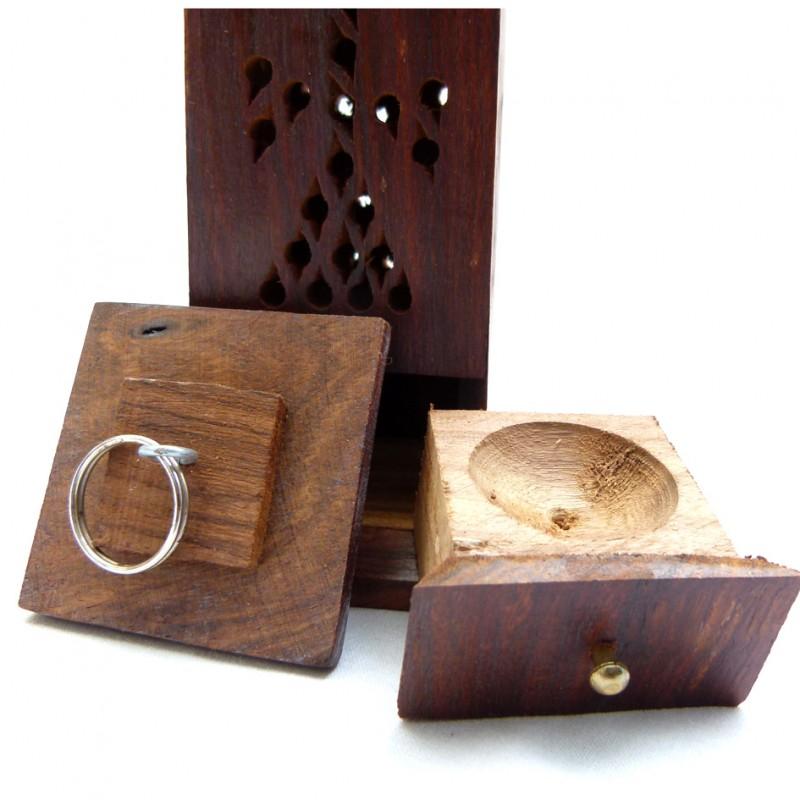 porte encens ethnique en bois avec cendrier et clip combustion. Black Bedroom Furniture Sets. Home Design Ideas