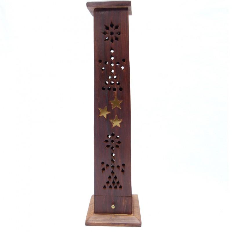 Porte encens ethnique en bois avec cendrier et clip combustion for Porte encens