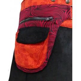 Jupe ethnique portefeuille coton et velours orange