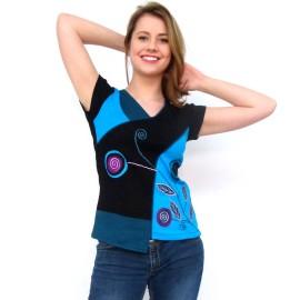 T-shirt ethnique Suzi bleu manche courte