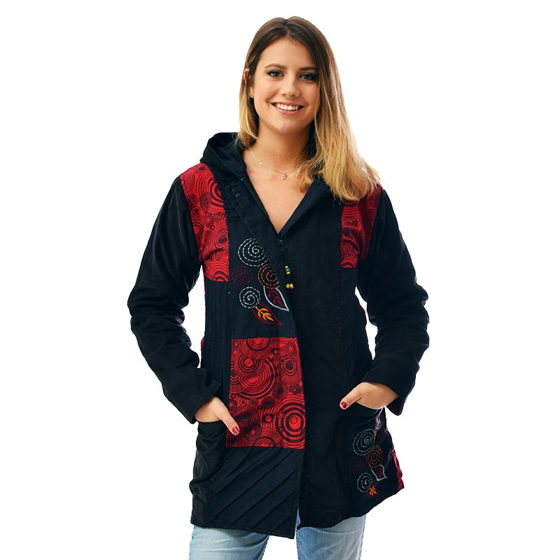 manteau ethnique diva rouge - Manteau Femme Color