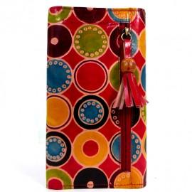 Porte-chéquier Macha motifs ronds rouge
