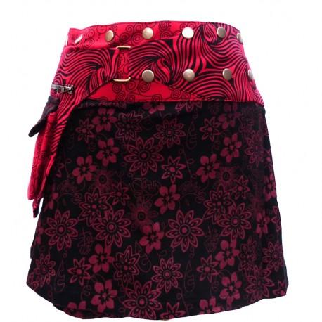 Jupe Portefeuille courte rouge et noire