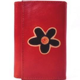 Portefeuille Macha fleur rouge