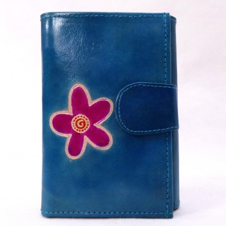 Portefeuille Macha fleur bleu