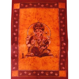 Tenture ethnique Ganesha orange