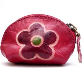 Porte monnaie Macha Art fleur rouge