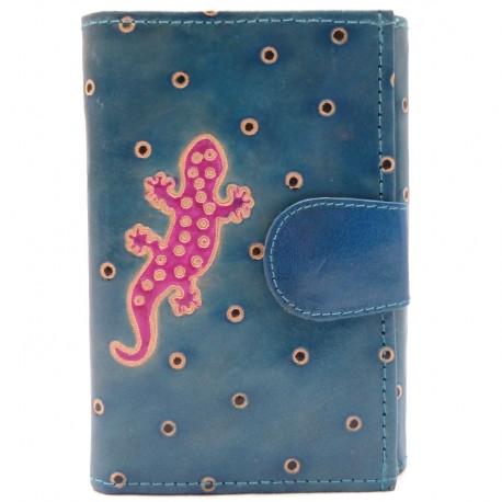 Portefeuille Macha gecko bleu et fushia