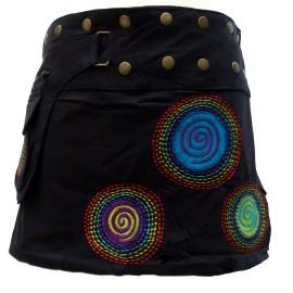 Jupe ethnique portefeuille black spiral