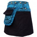 Jupe Portefeuille courte noire et bleue velours bleue