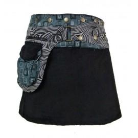 Jupe ethnique portefeuille coton et velours grise