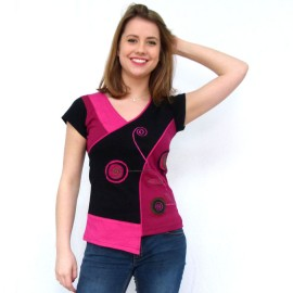 T-shirt ethnique Suzi fushia manche courte