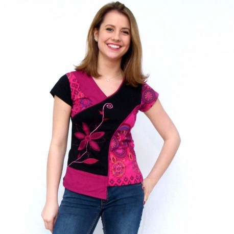 T-shirt ethnique Mango fushia
