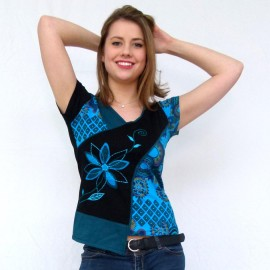 T-shirt ethnique Mango bleu