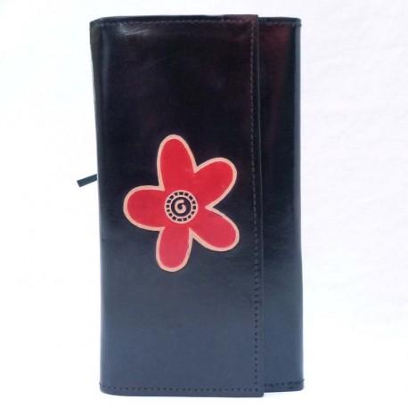 Porte-chéquier Macha fleur noir