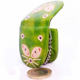 Porte-clés,porte-monnaie Macha chat anis