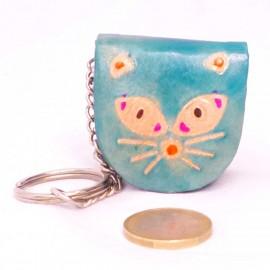 Porte-clés,porte-monnaie Macha chat bleu