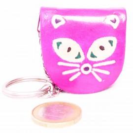 Porte-clés,porte-monnaie Macha chat fushia