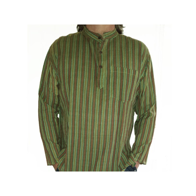 Chemise indienne ethnique coton col mao 3 boutons baba cool - Vetement ethnique discount ...