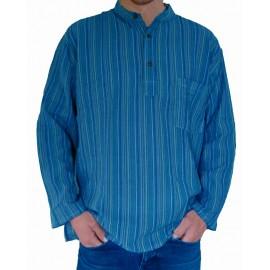 Chemise col Mao coton bleu
