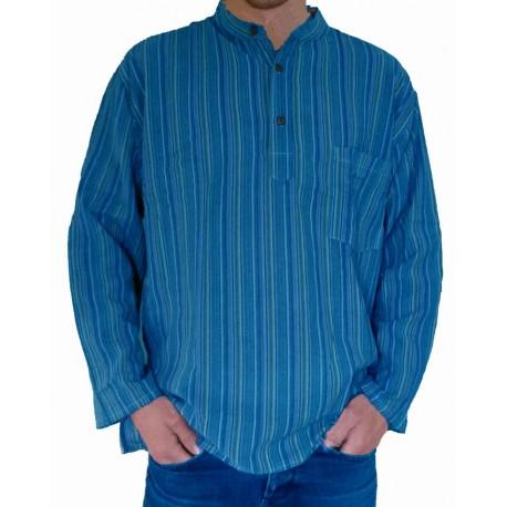 Chemise indienne col Mao coton bleu