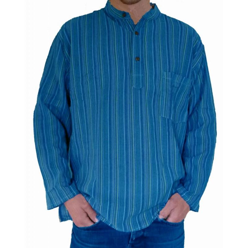 chemise col mao ethnique bleu indienne baba cool teufeur karnabi n pal. Black Bedroom Furniture Sets. Home Design Ideas