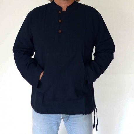 50% de réduction site réputé conception adroite chemise,col Mao,homme,ethnique,indienne,bleu,3 boutons,Népal,karnabi