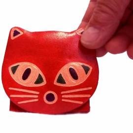 Petit porte monnaie carré chat