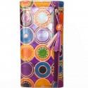 Porte-chéquier Macha motifs ronds violet
