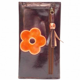 Porte-chéquier Macha choco fleur orange