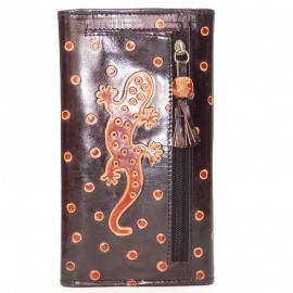 Porte-chéquier Macha choco gecko orange