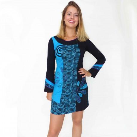 Robe/Tunique ethnique Agra bleue