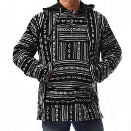 Poncho ethnique noir/blanc