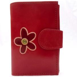 Portefeuille Macha rouge fleur