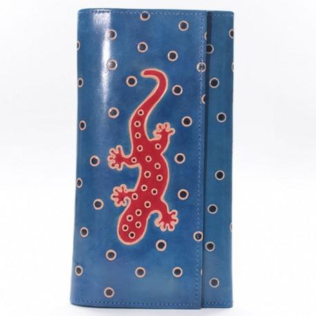 Porte-chéquier Macha gecko bleu