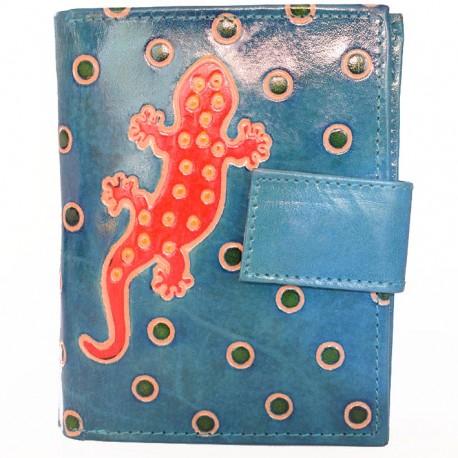 Portefeuille Macha gecko bleu