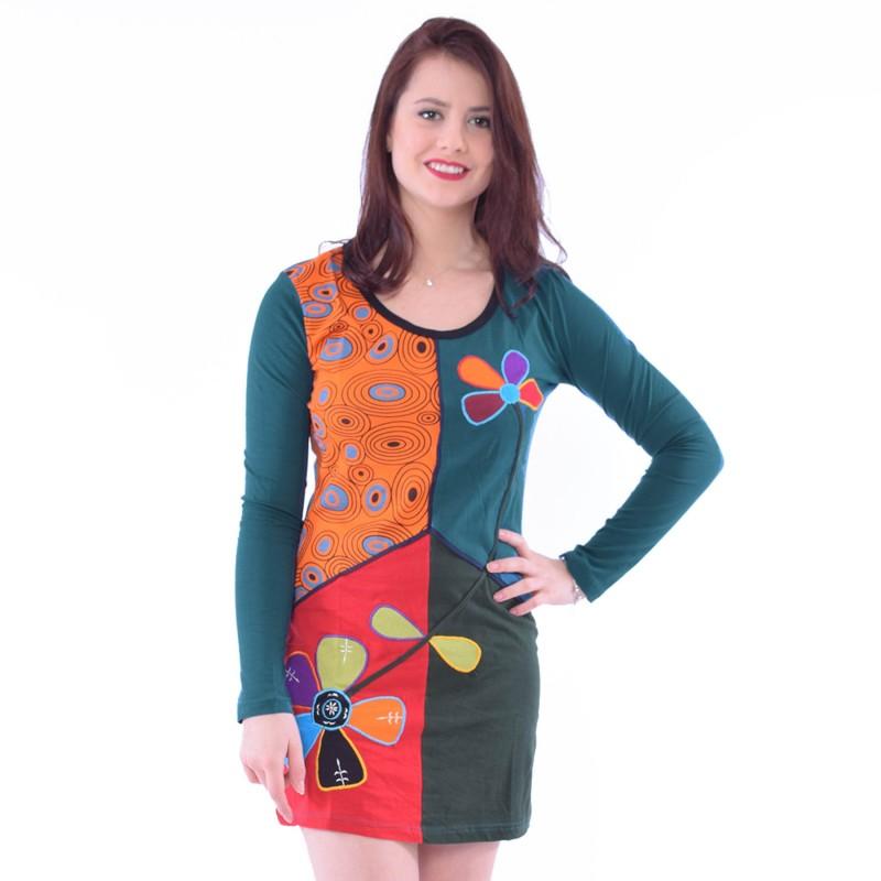 Robe look ethnique color e vetement pas cher hippie chic karnabi - Vetement ethnique discount ...