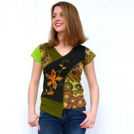 T-shirt ethnique Mango anis