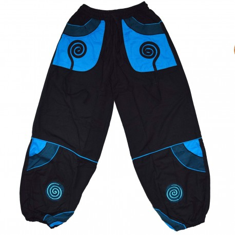 Pantalon ethnique Cosmic noir et bleu