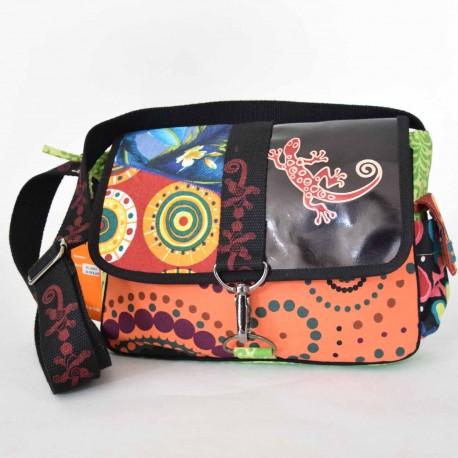 Schmutzig Leder Baumwolle Floral Macha Woman Ethnic Schwarz Bag Gecko Und pxSgqHx