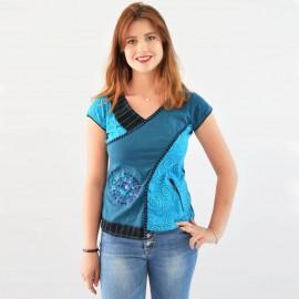 T-shirt ethnique Manoï bleu