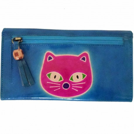 Porte-chéquier Macha chat bleu