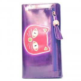 Porte-chéquier Macha chat violet