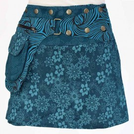 Jupe Portefeuille courte bleue