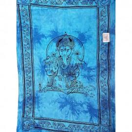 Tenture tie and dye Ganesh bleu