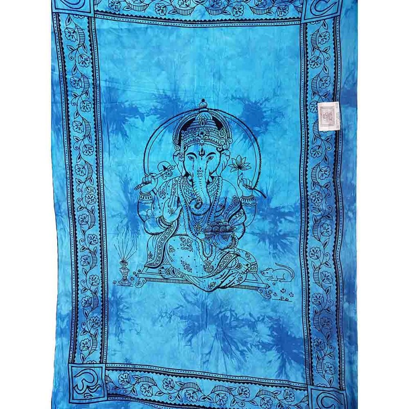 tenture murale ethnique tie and dye coton ganesha bleu. Black Bedroom Furniture Sets. Home Design Ideas