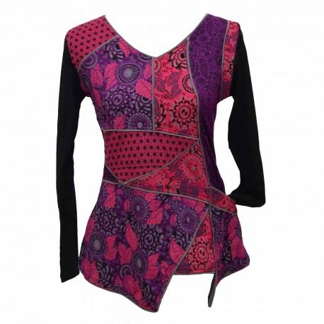 T-shirt ethnique bora violet