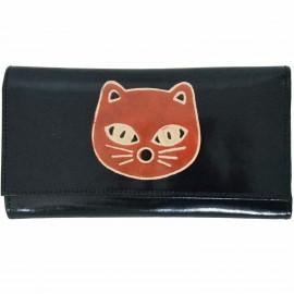 Porte-chéquier Macha noir chat orange